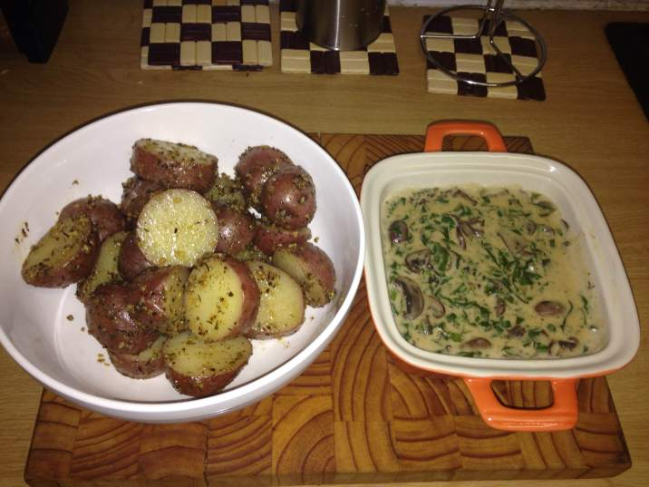 Garlic & Herb Sauteed Potatoes And Creamed Spinach With mushrooms